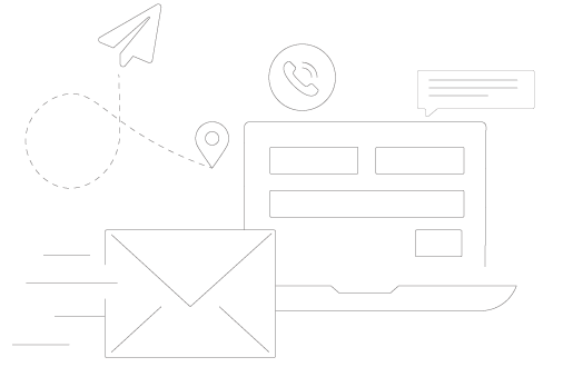 Outline Drawing of Mail and Contact Icons